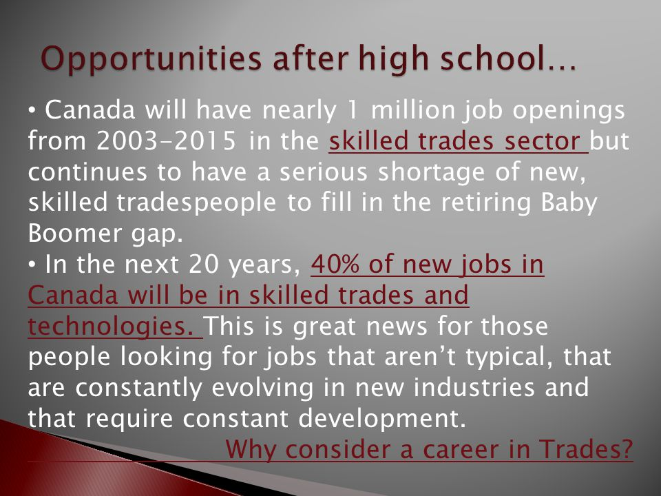 Canada will have nearly 1 million job openings from 2003-2015 in the skilled trades sector but continues to have a serious shortage of new, skilled tradespeople to fill in the retiring Baby Boomer gap.skilled trades sector In the next 20 years, 40% of new jobs in Canada will be in skilled trades and technologies.