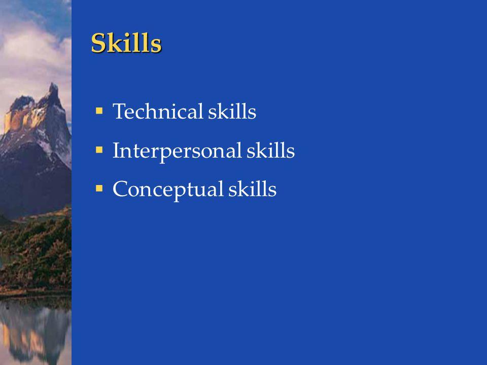 Skills  Technical skills  Interpersonal skills  Conceptual skills