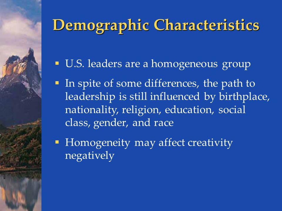 Demographic Characteristics  U.S.