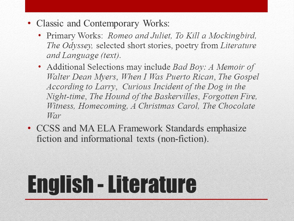English - Literature Classic and Contemporary Works: Primary Works: Romeo and Juliet, To Kill a Mockingbird, The Odyssey, selected short stories, poetry from Literature and Language (text).