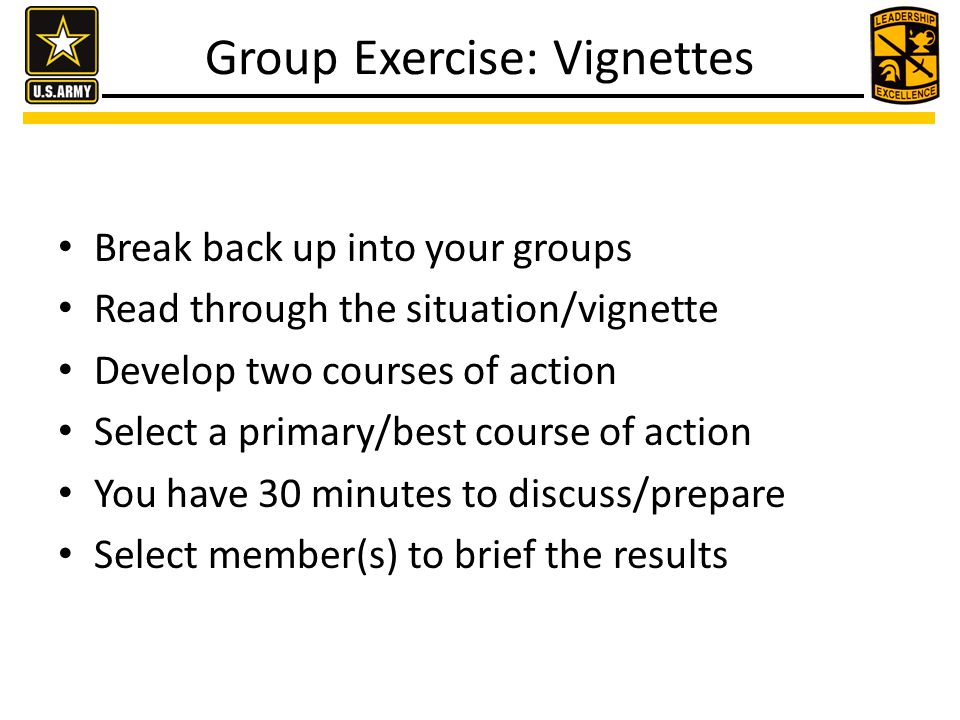 Group Exercise: Vignettes Break back up into your groups Read through the situation/vignette Develop two courses of action Select a primary/best cours