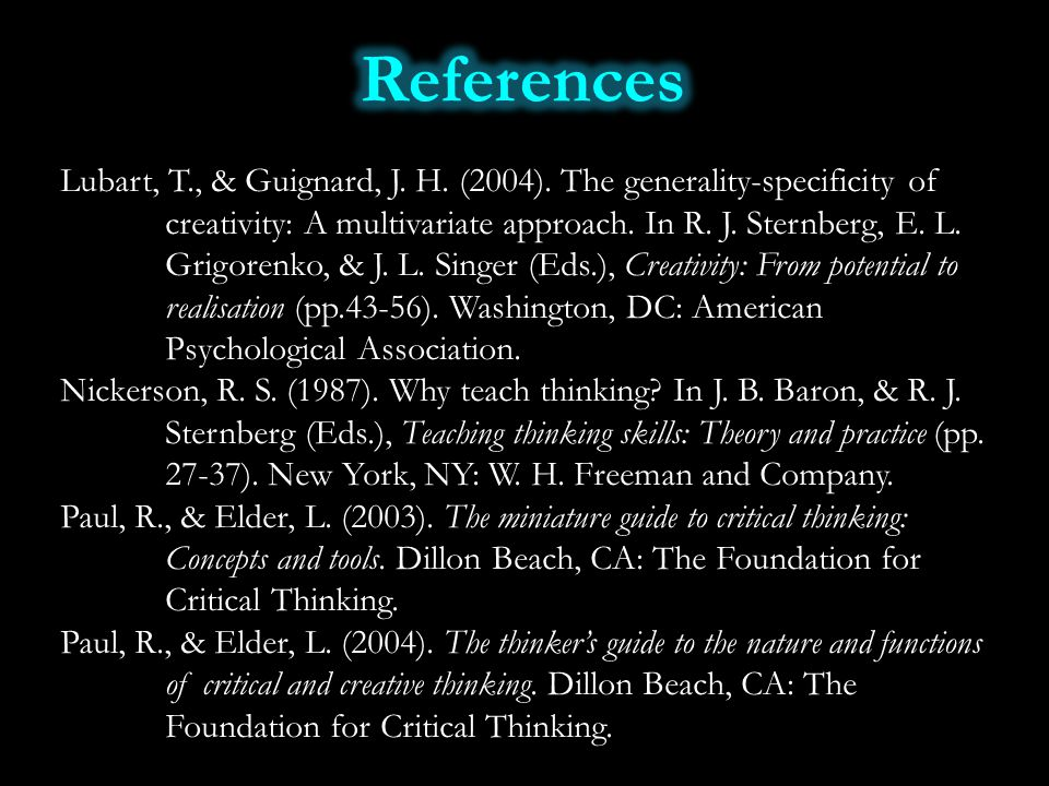 Lubart, T., & Guignard, J. H. (2004). The generality-specificity of creativity: A multivariate approach. In R. J. Sternberg, E. L. Grigorenko, & J. L.