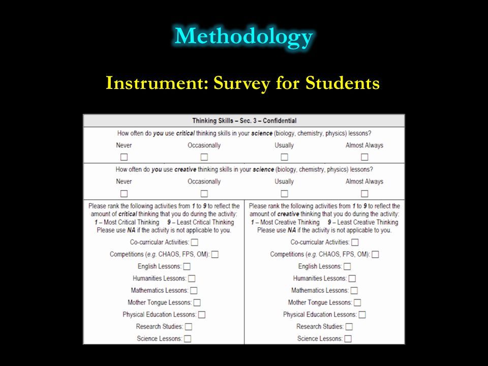 Instrument: Survey for Students