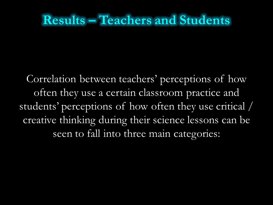 Correlation between teachers' perceptions of how often they use a certain classroom practice and students' perceptions of how often they use critical