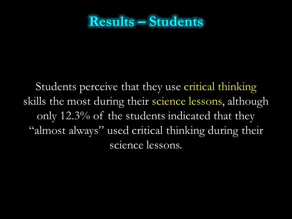 Students perceive that they use critical thinking skills the most during their science lessons, although only 12.3% of the students indicated that the