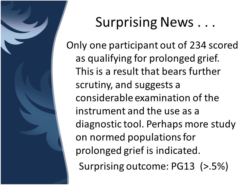 Surprising News... Only one participant out of 234 scored as qualifying for prolonged grief. This is a result that bears further scrutiny, and suggest