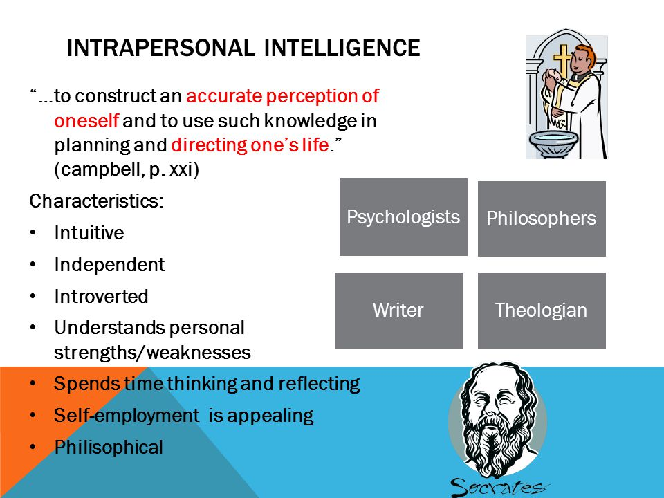"""INTRAPERSONAL INTELLIGENCE """"…to construct an accurate perception of oneself and to use such knowledge in planning and directing one's life."""" (campbell"""