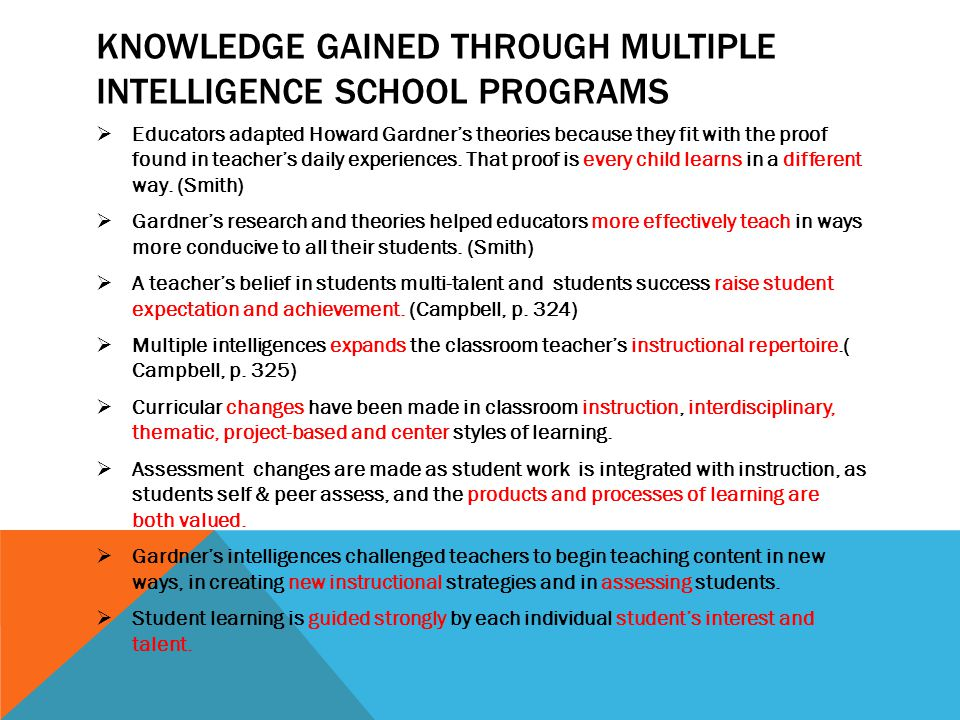 KNOWLEDGE GAINED THROUGH MULTIPLE INTELLIGENCE SCHOOL PROGRAMS  Educators adapted Howard Gardner's theories because they fit with the proof found in teacher's daily experiences.