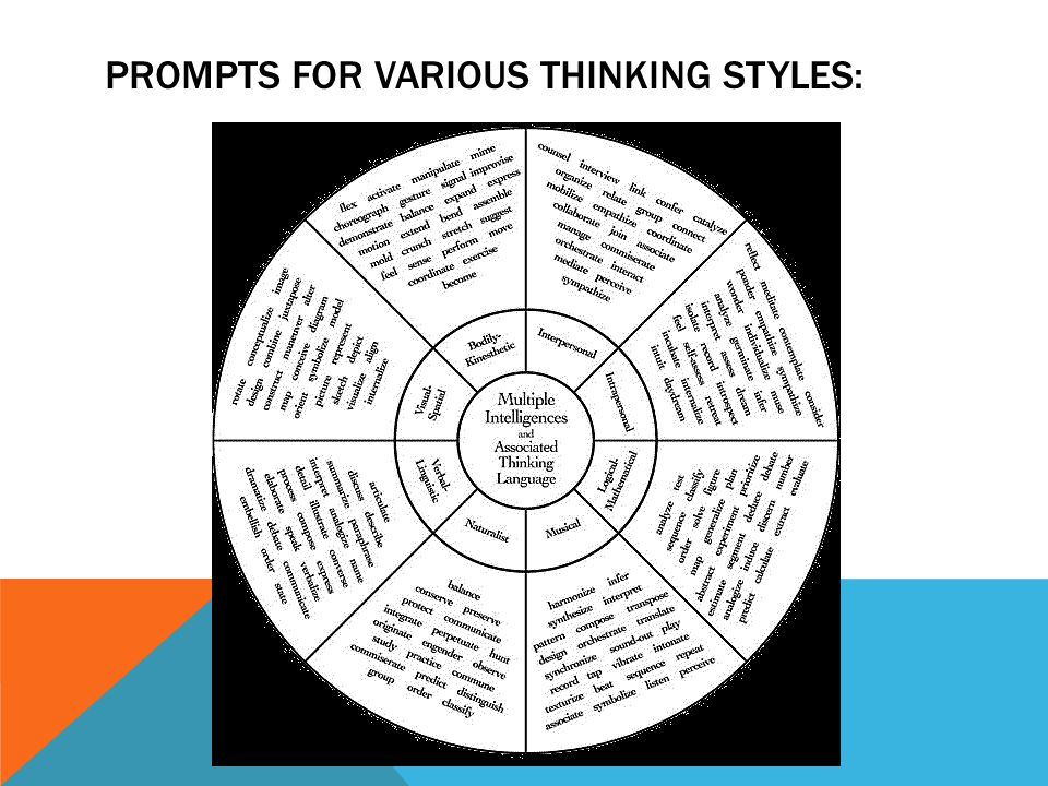 PROMPTS FOR VARIOUS THINKING STYLES: