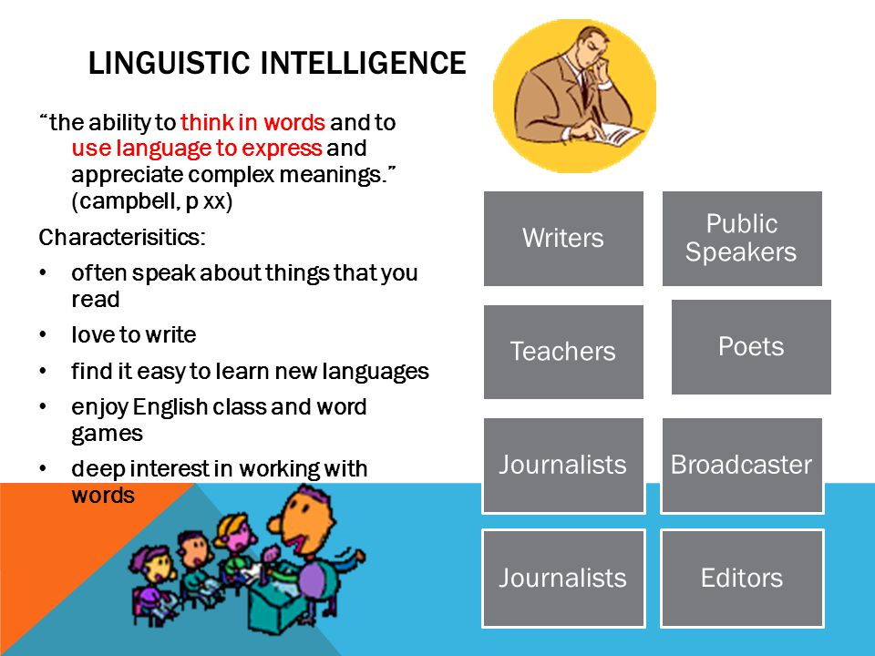 """LINGUISTIC INTELLIGENCE """"the ability to think in words and to use language to express and appreciate complex meanings."""" (campbell, p xx) Characterisit"""