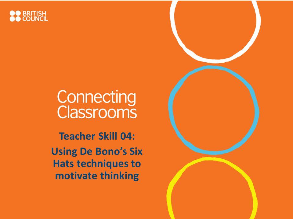 Teacher Skill 04: Using De Bono's Six Hats techniques to motivate thinking