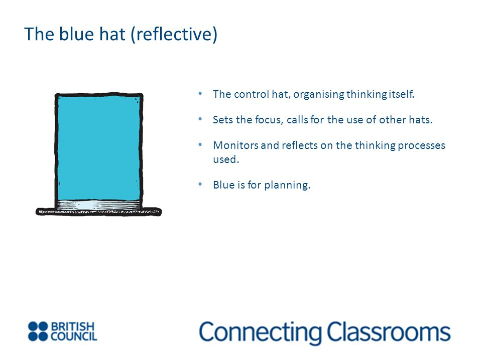 The blue hat (reflective) The control hat, organising thinking itself.