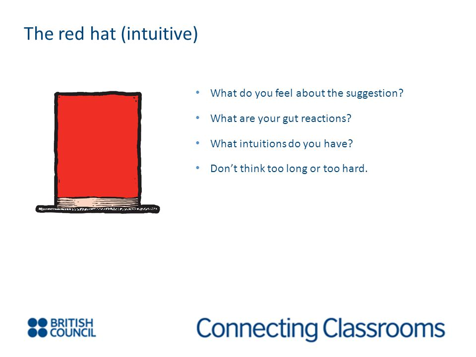 The red hat (intuitive) What do you feel about the suggestion.