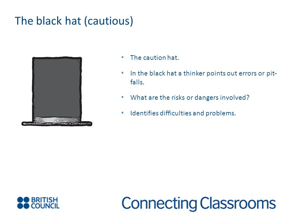 The caution hat. In the black hat a thinker points out errors or pit- falls.