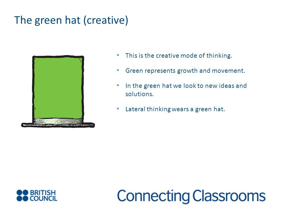 The green hat (creative) This is the creative mode of thinking.