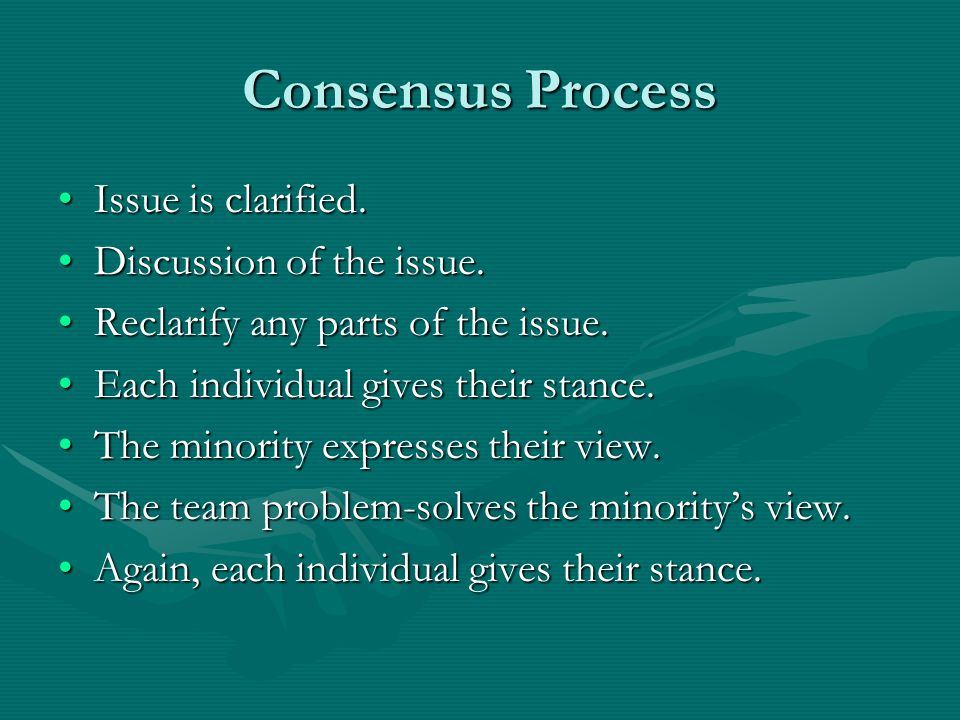 Consensus Process Issue is clarified.Issue is clarified.