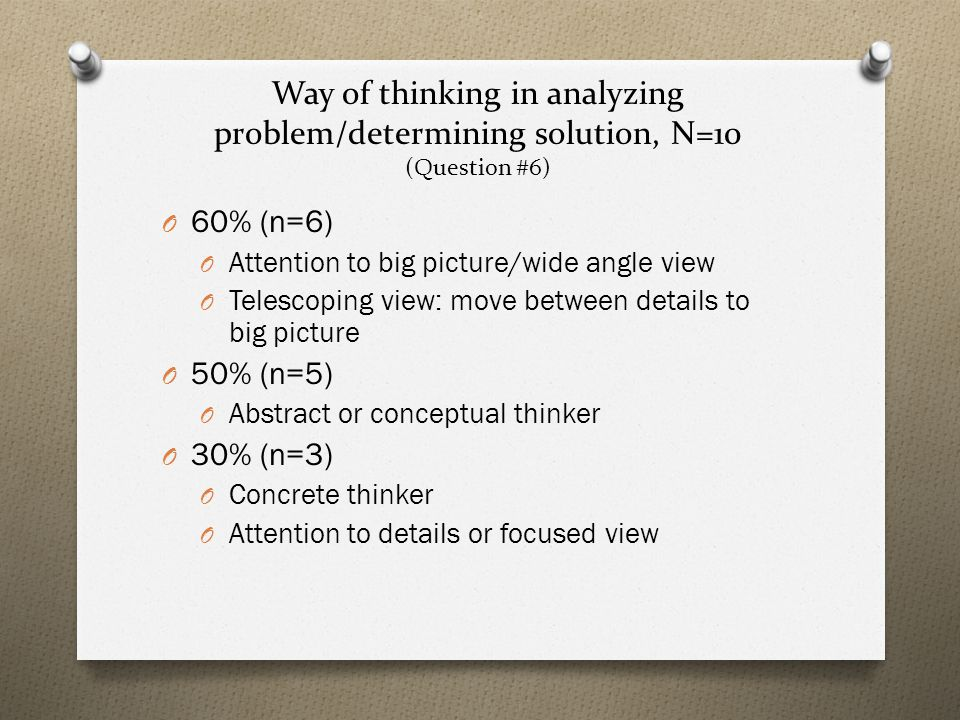Way of thinking in analyzing problem/determining solution, N=10 (Question #6) O 60% (n=6) O Attention to big picture/wide angle view O Telescoping view: move between details to big picture O 50% (n=5) O Abstract or conceptual thinker O 30% (n=3) O Concrete thinker O Attention to details or focused view
