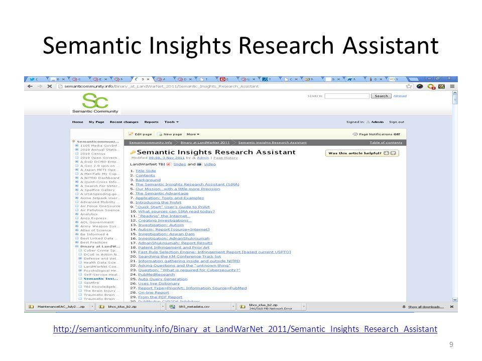 Semantic Insights Research Assistant 9 http://semanticommunity.info/Binary_at_LandWarNet_2011/Semantic_Insights_Research_Assistant