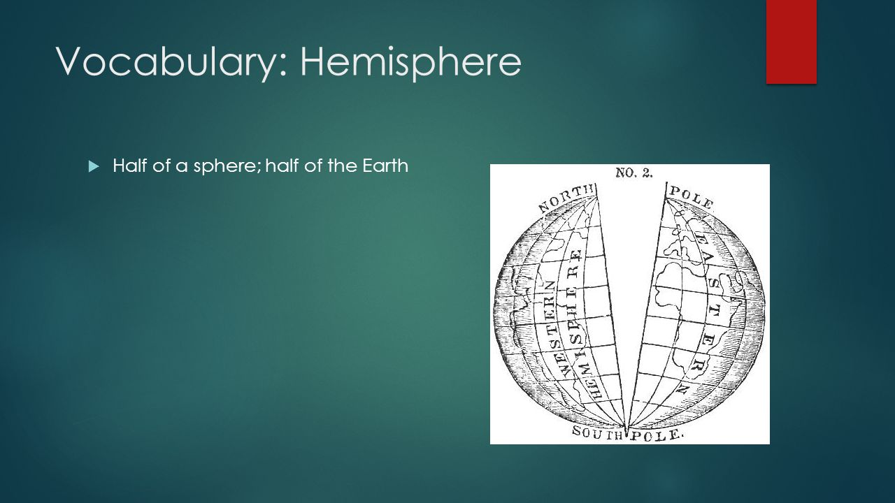 Vocabulary: Hemisphere  Half of a sphere; half of the Earth