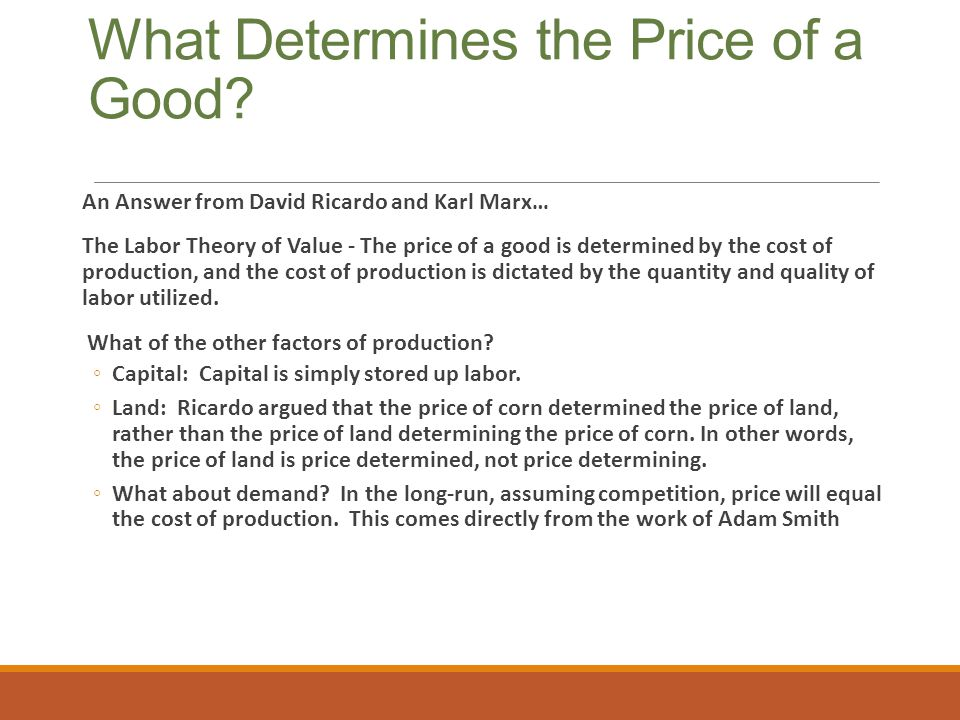 What Determines the Price of a Good.
