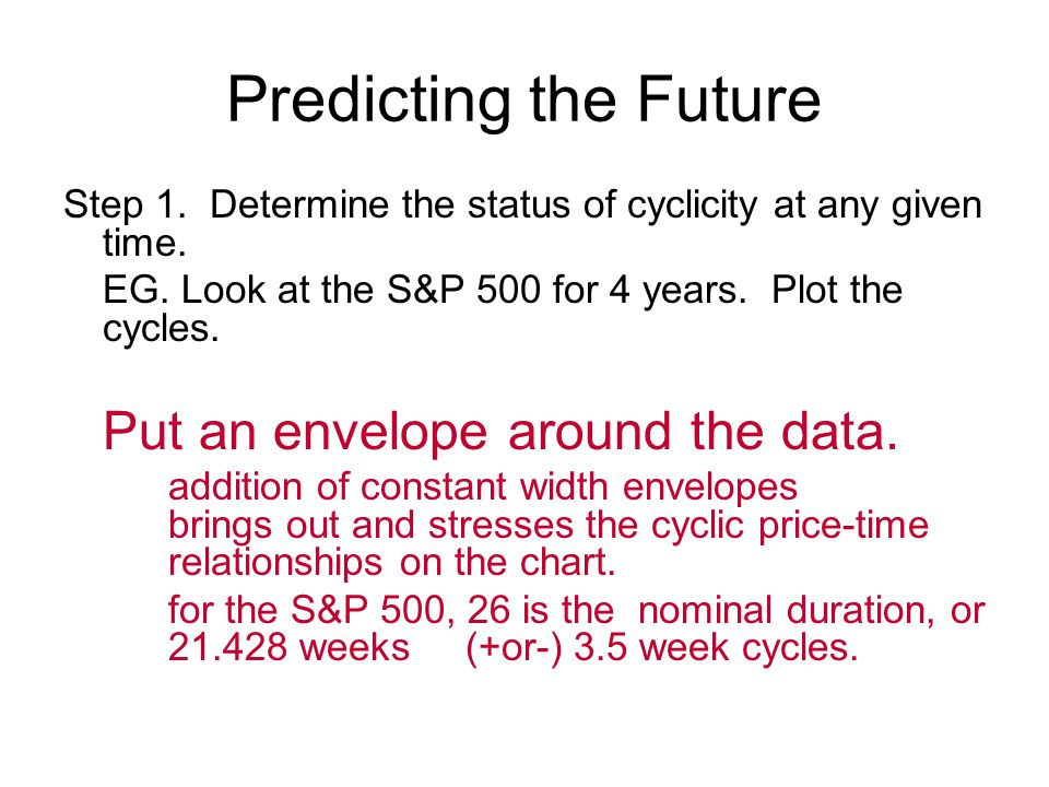 Predicting the Future Step 1. Determine the status of cyclicity at any given time.
