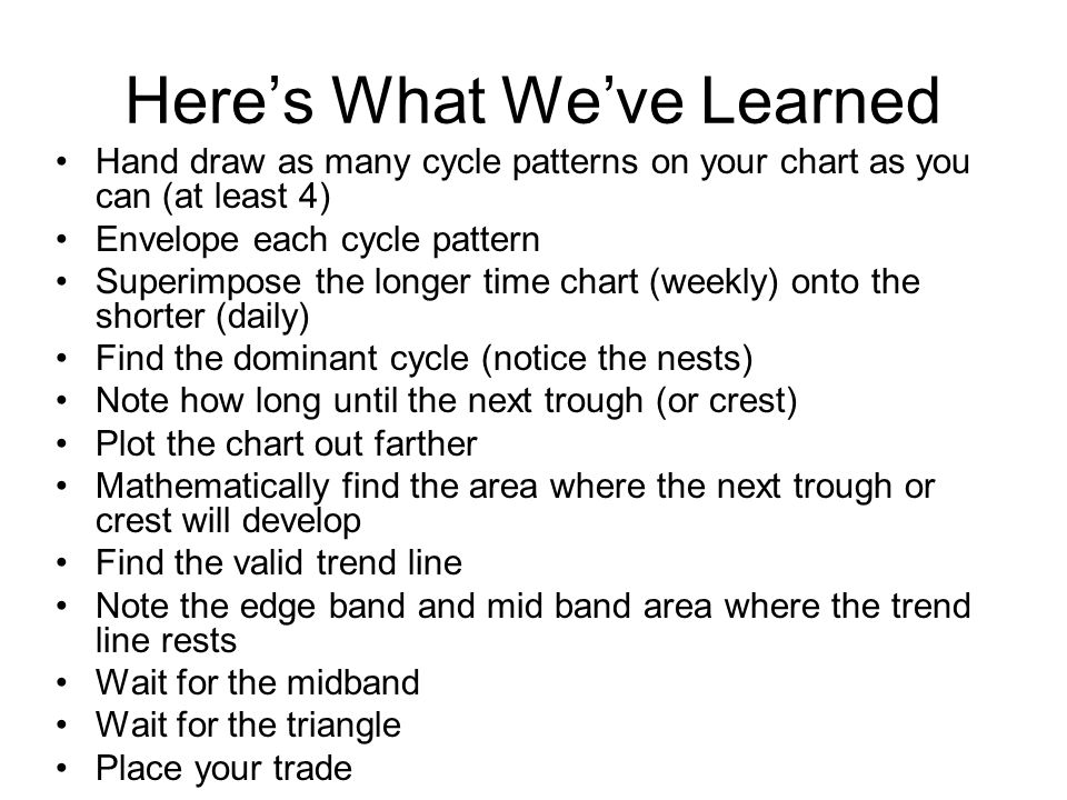 Here's What We've Learned Hand draw as many cycle patterns on your chart as you can (at least 4) Envelope each cycle pattern Superimpose the longer time chart (weekly) onto the shorter (daily) Find the dominant cycle (notice the nests) Note how long until the next trough (or crest) Plot the chart out farther Mathematically find the area where the next trough or crest will develop Find the valid trend line Note the edge band and mid band area where the trend line rests Wait for the midband Wait for the triangle Place your trade