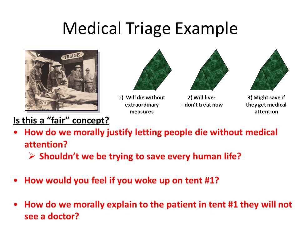 Medical Triage Example 1) Will die without extraordinary measures 2) Will live- --don't treat now 3) Might save if they get medical attention Is this