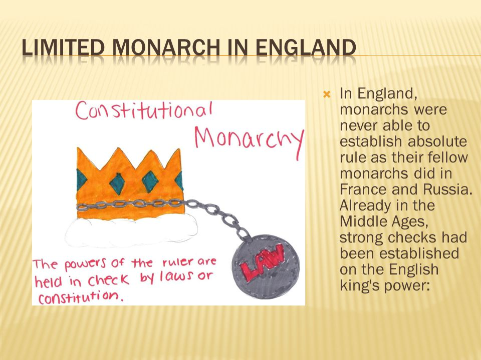  In England, monarchs were never able to establish absolute rule as their fellow monarchs did in France and Russia.