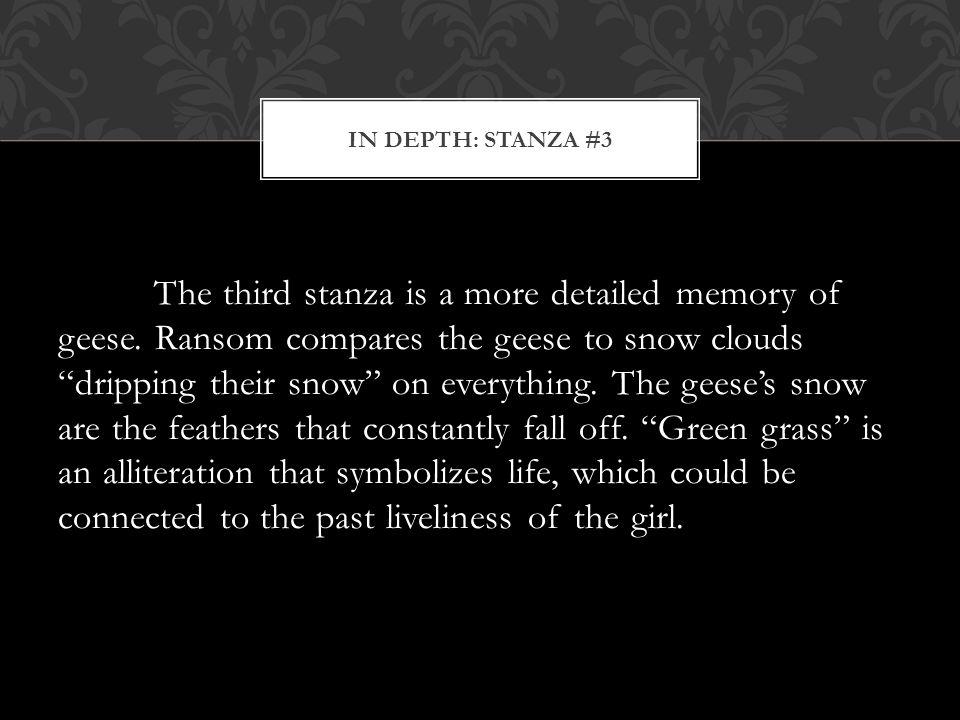The third stanza is a more detailed memory of geese.