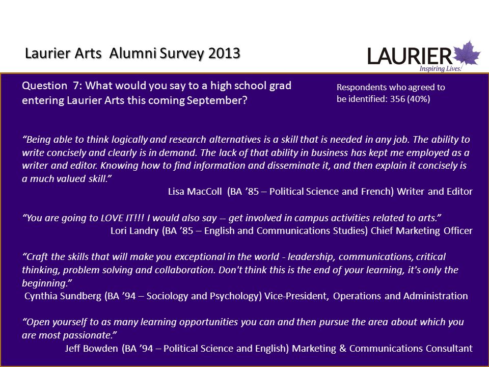 Laurier Arts Alumni Survey 2013 Respondents who agreed to be identified: 356 (40%) Question 7: What would you say to a high school grad entering Laurier Arts this coming September.