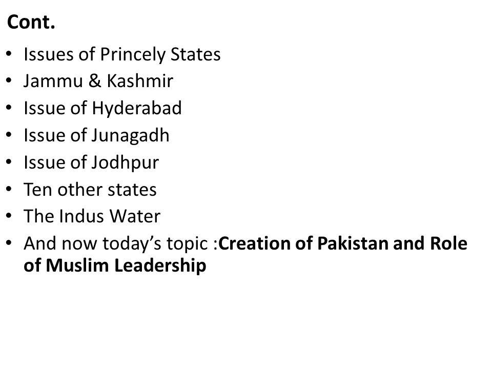 Creation of Pakistan and Role of Muslim Leadership Pakistan emerged in 1947 as a homeland of the Muslim Nation of the South Asian subcontinent, a nation which was denied the right of respectable existence by the Hindu majority under the British Raj.