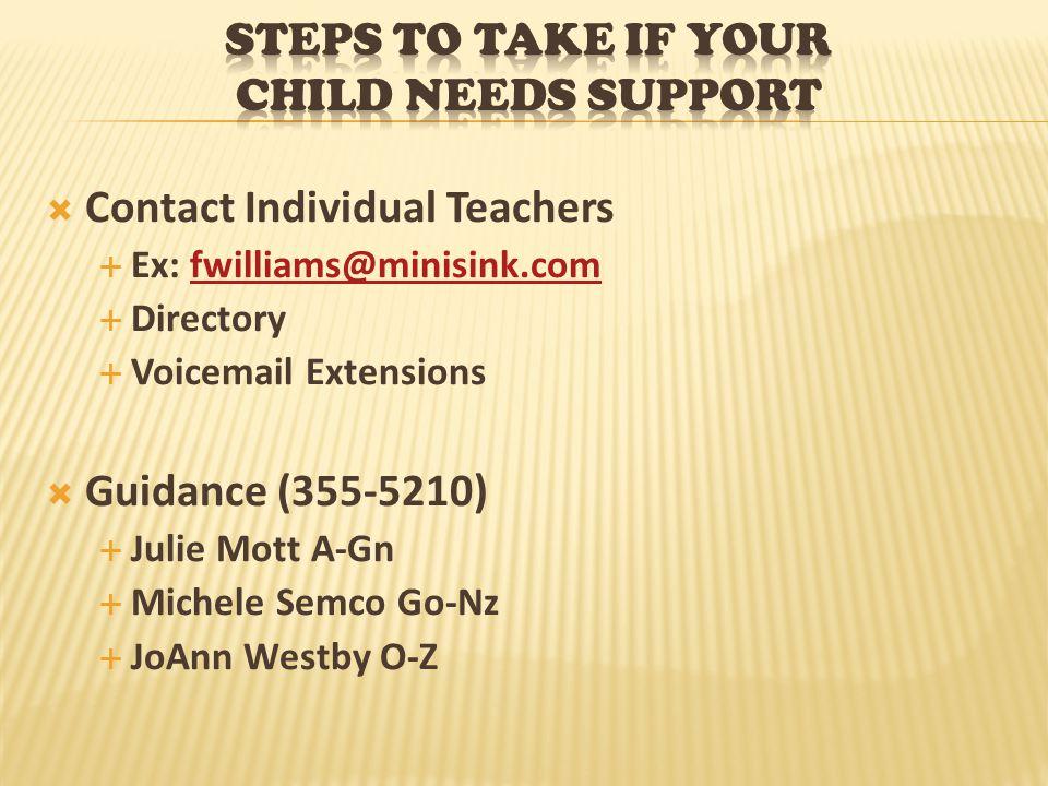  Contact Individual Teachers  Ex: fwilliams@minisink.comfwilliams@minisink.com  Directory  Voicemail Extensions  Guidance (355-5210)  Julie Mott