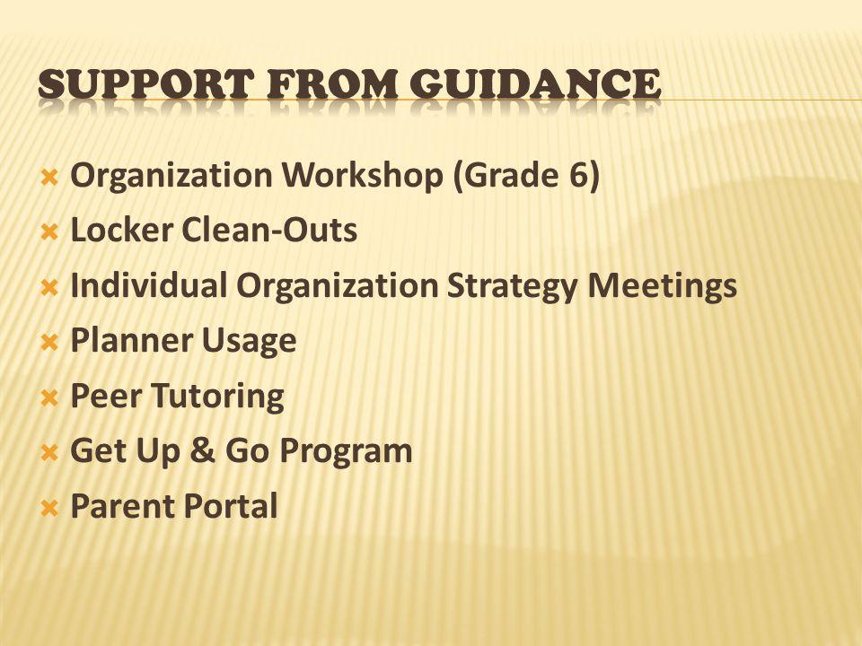  Organization Workshop (Grade 6)  Locker Clean-Outs  Individual Organization Strategy Meetings  Planner Usage  Peer Tutoring  Get Up & Go Progra