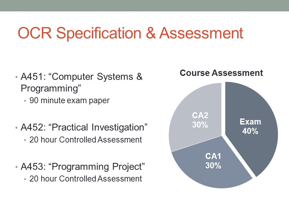 OCR Specification & Assessment A451: Computer Systems & Programming 90 minute exam paper A452: Practical Investigation 20 hour Controlled Assessment A453: Programming Project 20 hour Controlled Assessment