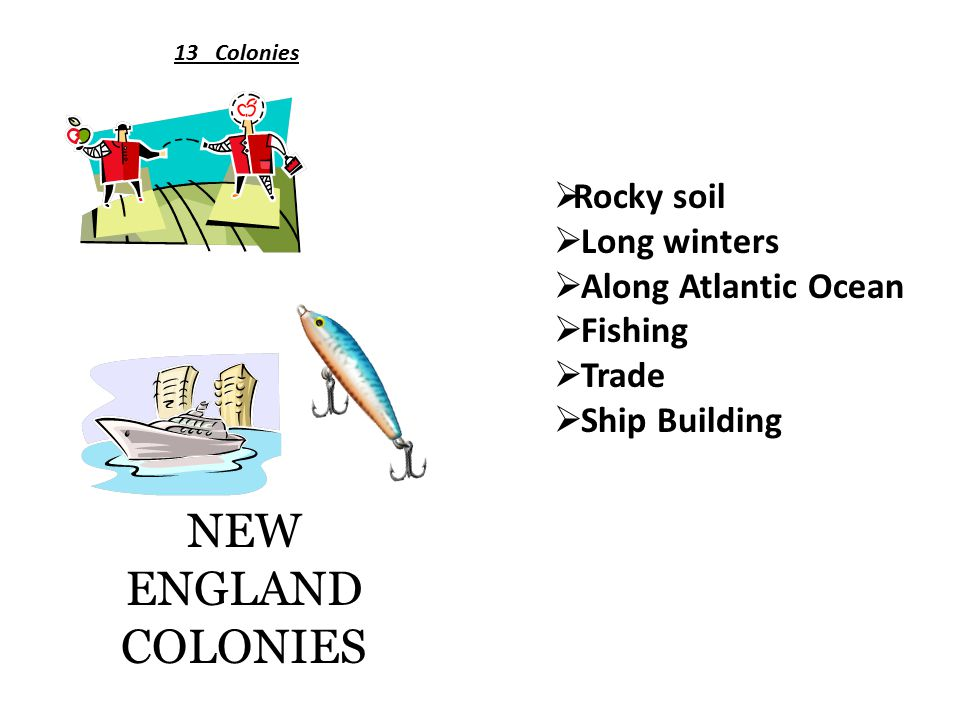 NEW ENGLAND COLONIES 13 Colonies  Rocky soil  Long winters  Along Atlantic Ocean  Fishing  Trade  Ship Building