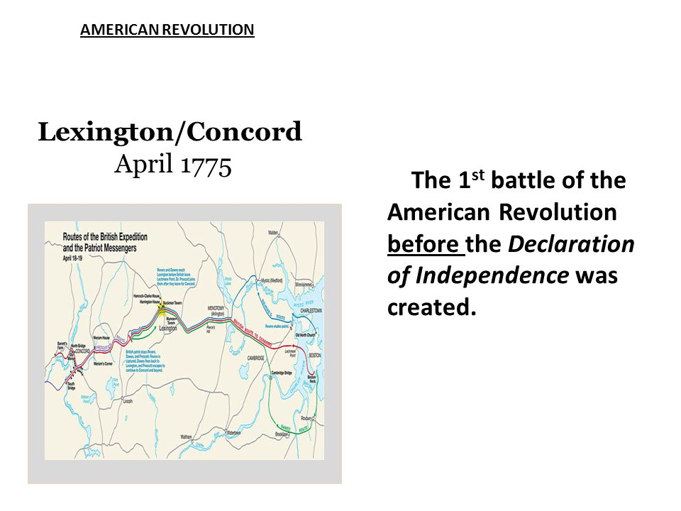 AMERICAN REVOLUTION Lexington/Concord April 1775 The 1 st battle of the American Revolution before the Declaration of Independence was created.