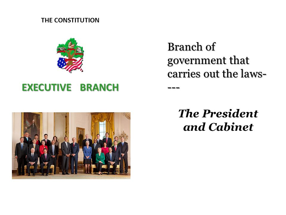 THE CONSTITUTION EXECUTIVE BRANCH Branch of government that carries out the laws- --- The President and Cabinet