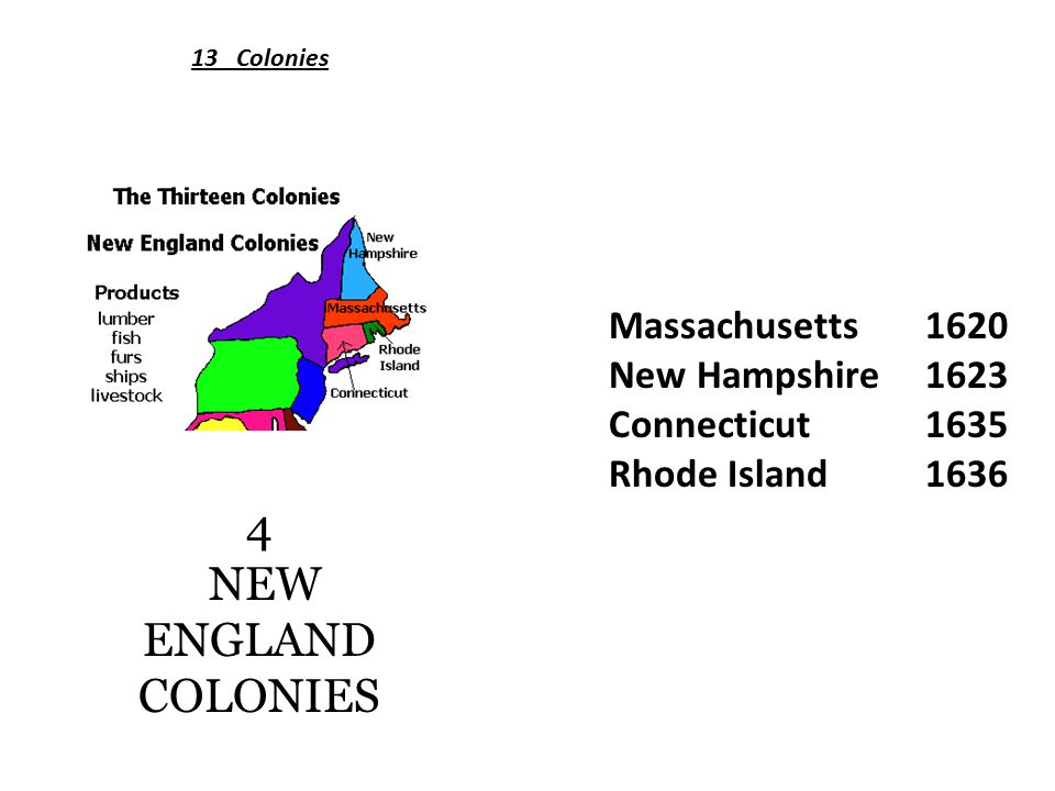 4 NEW ENGLAND COLONIES Massachusetts 1620 New Hampshire1623 Connecticut1635 Rhode Island1636 13 Colonies