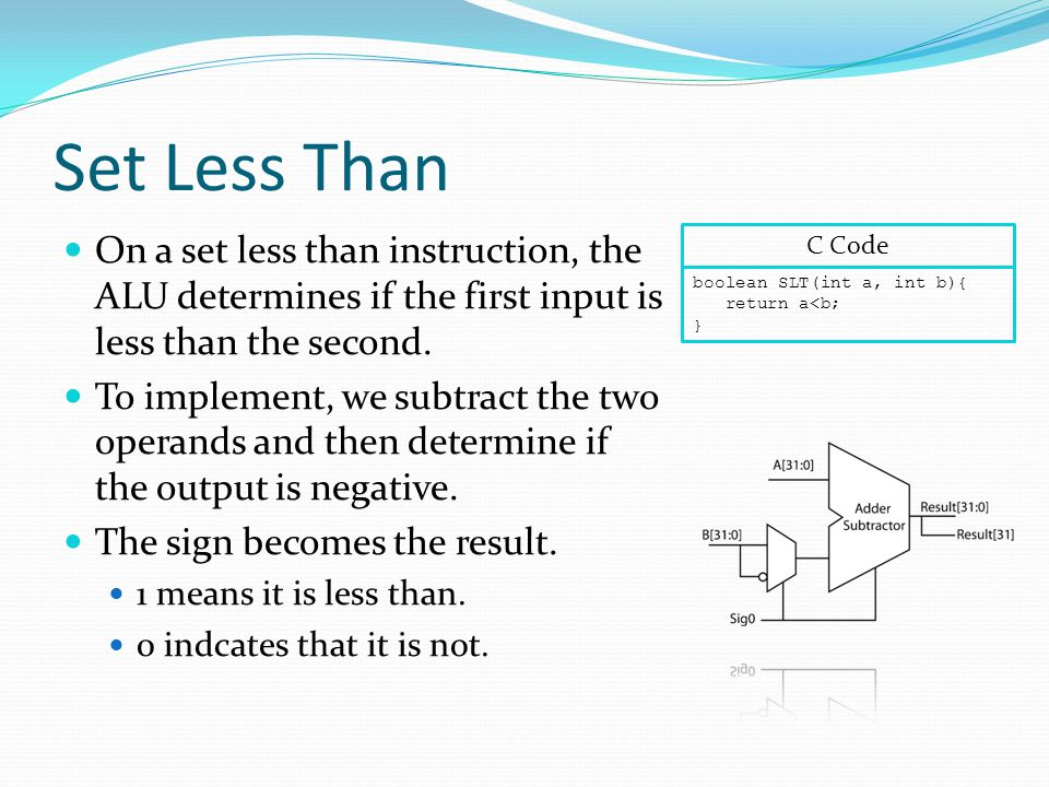 Set Less Than On a set less than instruction, the ALU determines if the first input is less than the second.