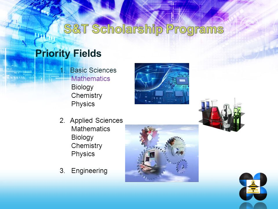 Priority Fields 1.Basic Sciences Mathematics Biology Chemistry Physics 2.Applied Sciences Mathematics Biology Chemistry Physics 3. Engineering