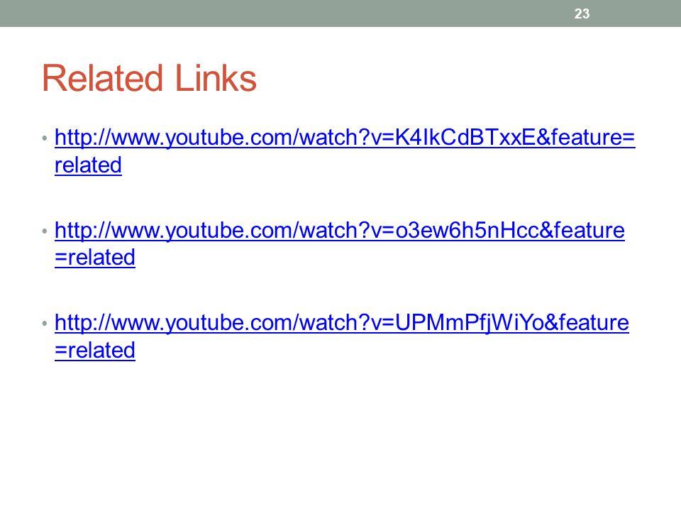 Related Links http://www.youtube.com/watch?v=K4IkCdBTxxE&feature= related http://www.youtube.com/watch?v=K4IkCdBTxxE&feature= related http://www.youtu
