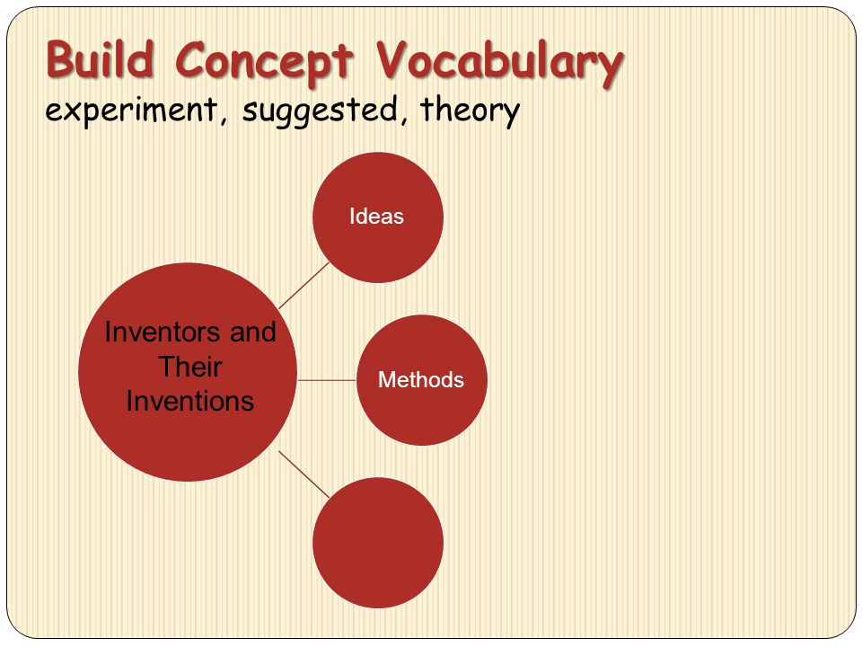 Build Concept Vocabulary Build Concept Vocabulary experiment, suggested, theory IdeasMethods Inventors and Their Inventions