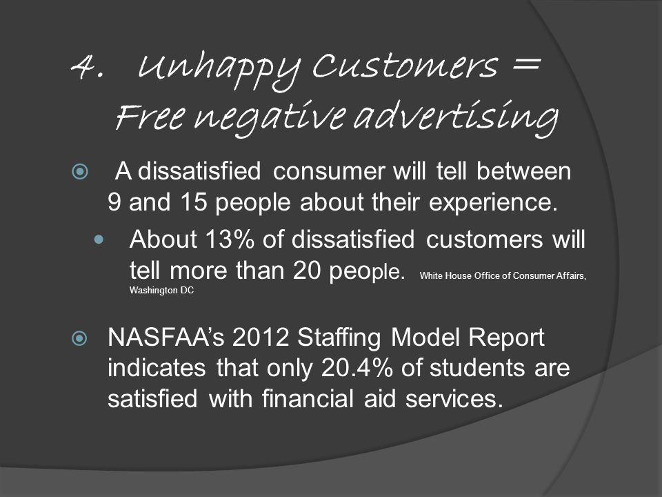  A dissatisfied consumer will tell between 9 and 15 people about their experience.