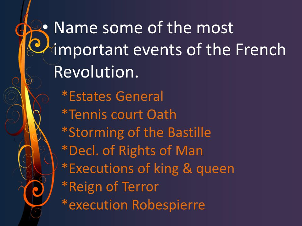 *Estates General *Tennis court Oath *Storming of the Bastille *Decl. of Rights of Man *Executions of king & queen *Reign of Terror *execution Robespie