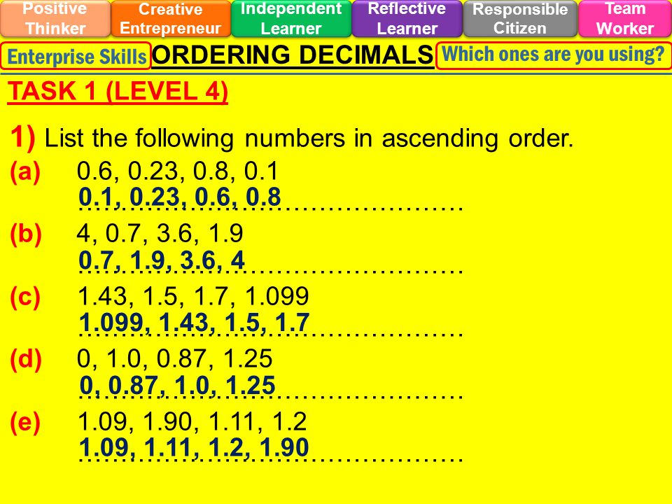DISCOVERY LINK BACK TO OBJECTIVES - Accurately order decimals.