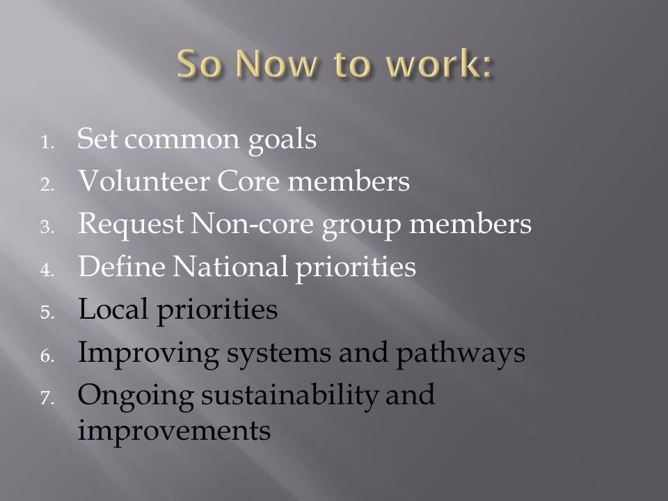1. Set common goals 2. Volunteer Core members 3.