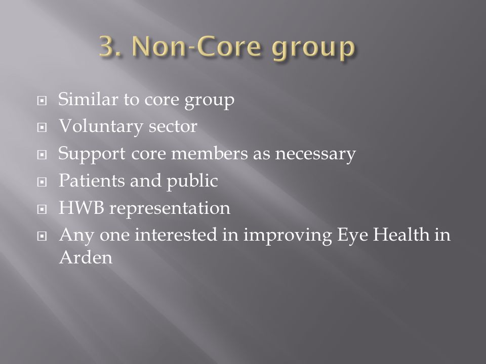  Similar to core group  Voluntary sector  Support core members as necessary  Patients and public  HWB representation  Any one interested in improving Eye Health in Arden