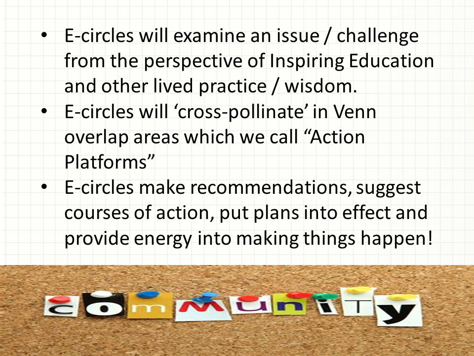 E-circles will examine an issue / challenge from the perspective of Inspiring Education and other lived practice / wisdom.