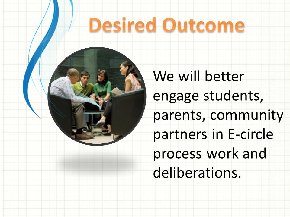 We will better engage students, parents, community partners in E-circle process work and deliberations.