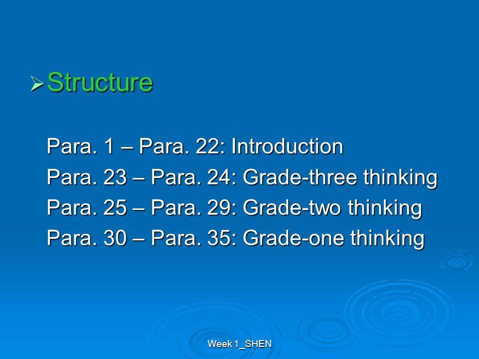 Week 1_SHEN  Structure Para. 1 – Para. 22: Introduction Para. 1 – Para. 22: Introduction Para. 23 – Para. 24: Grade-three thinking Para. 23 – Para. 2